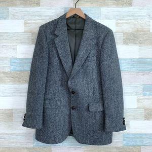 Tweed Sport Coat Gray Two Button Harris Tweed